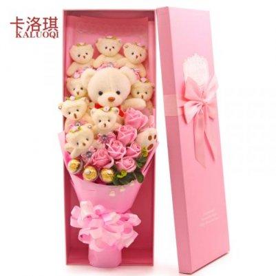 抱抱小熊卡通香皂花束礼盒