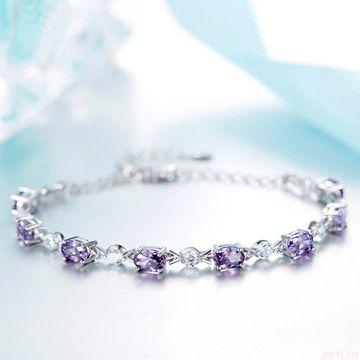 925银紫水晶纤细手链