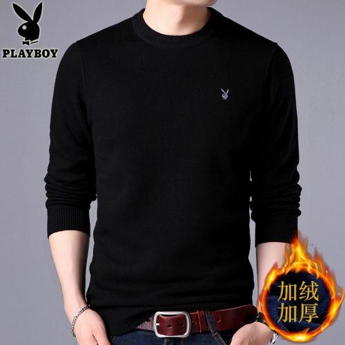 韩版男士加绒针织衫