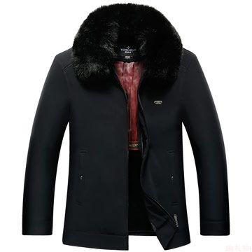 男士加厚毛领保暖大衣